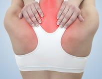 Dor aguda em um pescoço da mulher Imagem de Stock Royalty Free