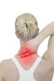 Dor aguda em um pescoço da mulher. Mão guardando fêmea ao ponto do pescoço Imagem de Stock Royalty Free