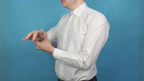Dor articular do pulso da artrite reumatoide ou da osteodistrofia gout Ferimento do braço devido ao trabalho a longo prazo no com video estoque