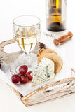 Dor Blue cheese, grapes and wine Royalty Free Stock Image