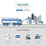 Doręczeniowy drogowego transportu sztandaru kreskowej sztuki ikon wektorowy lineart Fotografia Stock