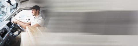 Doręczeniowy kurier w samochodzie dostawczym z przemiana skutkiem Obraz Royalty Free