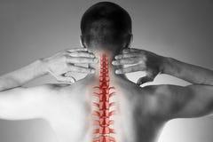 Dor da espinha, homem com dor lombar e dor no pescoço, foto preto e branco com espinha dorsal vermelha Foto de Stock Royalty Free