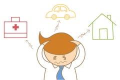 dor de cabeça do homem de negócio sobre o débito e a despesa ilustração stock