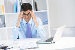 Dor de cabeça do negócio Foto de Stock