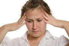 Dor de cabeça doente Foto de Stock Royalty Free