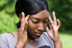 Dor de cabeça dolorosa Foto de Stock Royalty Free
