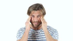 Dor de cabeça, homem frustrante cansado vídeos de arquivo