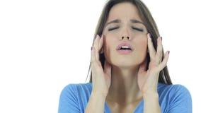 Dor de cabeça, mulher moreno deprimida frustrante, nova