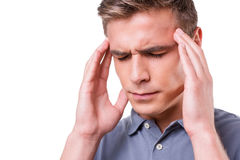 Dor de cabeça terrível de sentimento Fotografia de Stock
