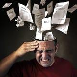 Dor de cabeça financeira Foto de Stock