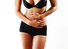 Dor de estômago da mulher Imagem de Stock