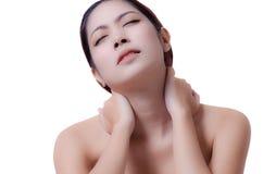 Dor de pescoço Imagens de Stock