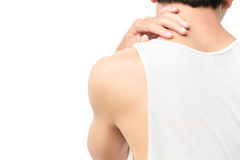 Dor do pescoço do homem novo do close up com Imagem de Stock