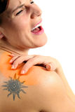 Dor em meu ombro Fotografia de Stock Royalty Free