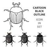 Dor-kever pictogram in beeldverhaalstijl op witte achtergrond wordt geïsoleerd die De voorraad vectorillustratie van het insecten royalty-vrije illustratie