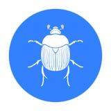 Dor-kever pictogram in zwarte die stijl op witte achtergrond wordt geïsoleerd De voorraad vectorillustratie van het insectensymbo royalty-vrije illustratie