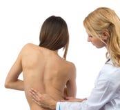 Dor lombar paciente da deformidade da escoliose da espinha da pesquisa do doutor Foto de Stock