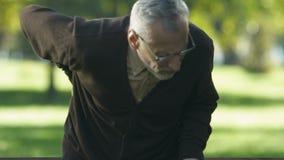 Dor nas costas afiada envelhecida do sentimento do pensionista, levantando-se do banco, reumatismo vídeos de arquivo