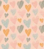 Modelo lindo romántico con los corazones. Corazón del Doodle. Fondo abstracto del amor en estilo del vintage. Ejemplo del vector ilustración del vector