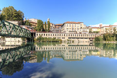 Dora Baltea River and Ivrea cityscape in Piedmont, Italy Royalty Free Stock Photography