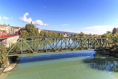 Dora Baltea River and Ivrea cityscape in Piedmont, Italy Royalty Free Stock Images