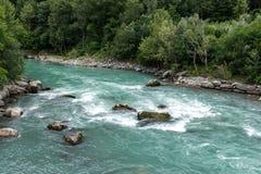 Dora Baltea river near Issogne (Italy) Stock Images