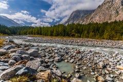 Dora Di Ferret River, Val Veny, Italia fotografie stock libere da diritti
