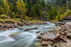 Dora Di Ferret River, Val Veny, Italie Photo stock