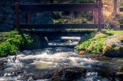 Dora, flüssiger Fluss des Wassers in einer Gebirgsumwelt Berge mit Wasser Stockbild