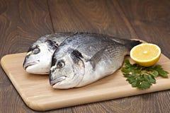 Dorada鱼用柠檬 免版税库存图片