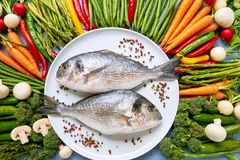 Dorada fish on white dish with colorful vegetables around. Dorada, carrots, tomatoes, asparagus, broccoli, chilli pepper, green b. Eans. Top view. Organic food royalty free stock image