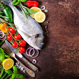 Dorada, fresh fish with vegetable, lemon, herbs, onion, paprika, cherry tomatoes, onion, salton dark vintage background. Copy spac Royalty Free Stock Photo