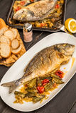 Dorada with  okra and tomatoes Stock Images