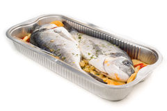 Dorada raw fish ready to be cooked in tray Stock Images