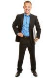 Doradca gospodarczy w kostiumu z kartotekami obrazy royalty free