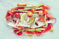Dorade with vegetables prepared for roasting, toned Stock Images