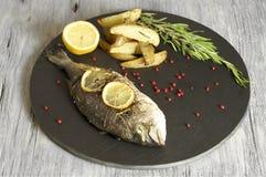 Dorado al forno con i cunei al forno della patata dei rosmarini Fotografie Stock Libere da Diritti