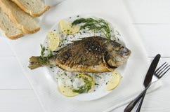 Dorado al forno su un piatto su un fondo bianco con un aneto del limone Fotografie Stock Libere da Diritti