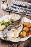 Dorado cozido dos peixes com vegetais Imagens de Stock Royalty Free