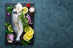 Dorado de poisson frais Poissons et ingrédient crus de dorado pour faire cuire à bord Dorade ou poissons de dorada sur la table d Image libre de droits