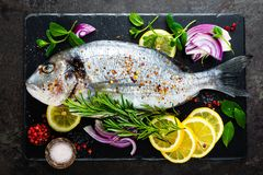 Dorado de poisson frais Poissons et ingrédient crus de dorado pour faire cuire à bord Dorade ou poissons de dorada sur la table d Photographie stock