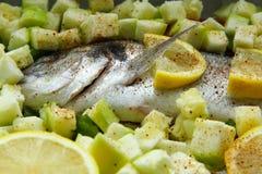 Dorado dos peixes com vegetais e limão imagem de stock