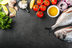Dorado-Fische mit Bestandteilen für das Kochen stockfotografie