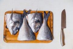 Dorado fish on a cutting board knife cut half. Dorado fish on a cutting board knife cut in half Royalty Free Stock Images