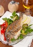 Dorado fish with Fresh Parsley Royalty Free Stock Image