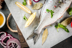 Dorado fish with ingredients for cooking. Fresh raw organic fish Dorado, sea bream with ingredients for cooking lemon, tomatoes, onion, salt, pepper, bay leaf Royalty Free Stock Photo