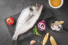 Dorado fish with ingredients for cooking. Fresh raw organic fish Dorado, sea bream with ingredients for cooking lemon, tomatoes, onion, salt, pepper, bay leaf Royalty Free Stock Photos