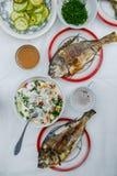 Dorado fritado dos peixes na tabela Imagem de Stock