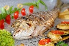 dorado ryba smażący warzywa Obraz Royalty Free